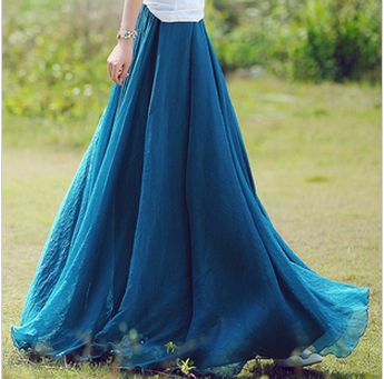 Long Chiffon Skirt in Blue