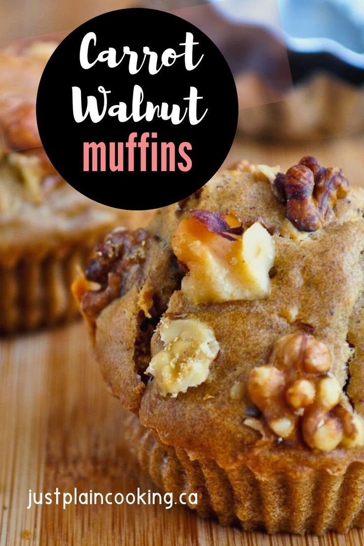 Jun 3, 2020 – These Carrot Walnut Muffins with raisins and spices are great for breakfast or a snack. Vegan, with nuts,…
