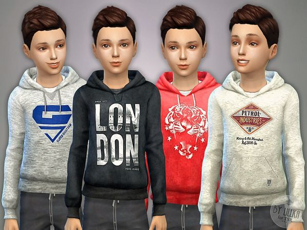 The Sims Resource: Hoodie for Boys P07 by Lillka • Sims 4 Downloads