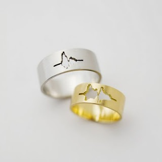 """I Do"" Wedding bands made from soundwave of own recorded voice."