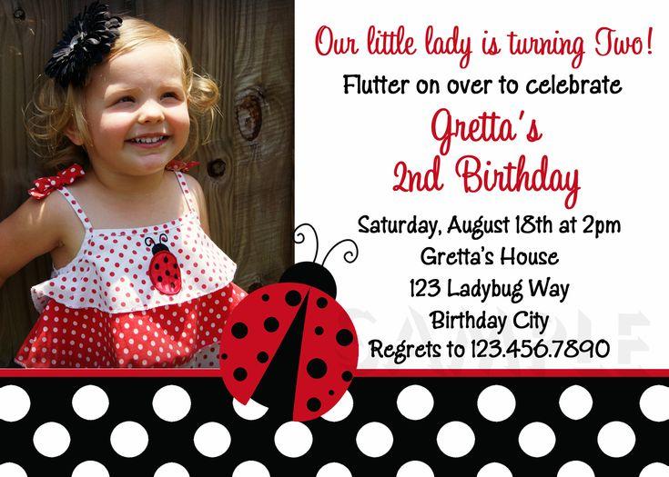 466 best Party Ideas images – Ladybug Photo Invitations 1st Birthday