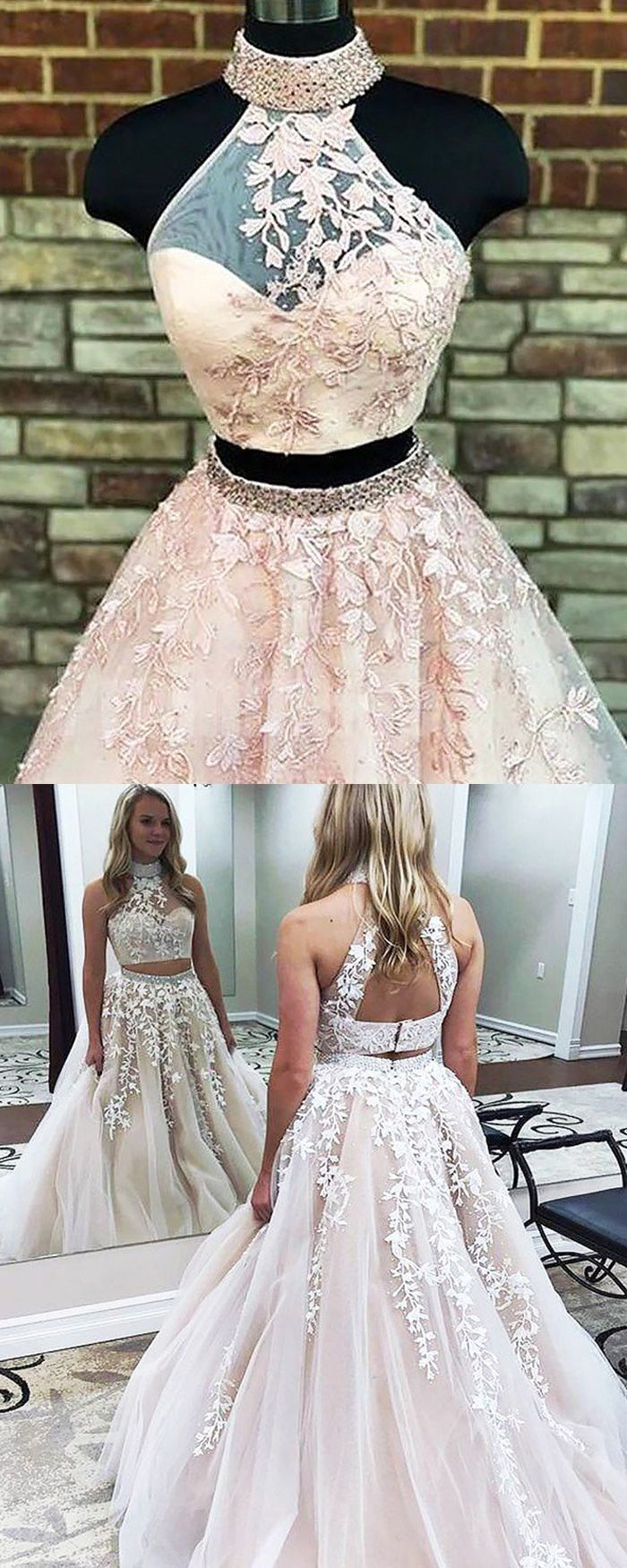 Two Piece High Neck Pearl Pink Ball Gown Prom Dress With Appliques Pm1140 Formal Dresses Long Junior Prom Dresses Prom Dresses Ball Gown [ 1750 x 700 Pixel ]