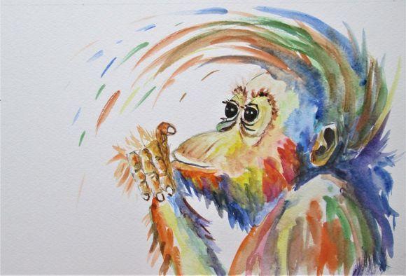Baby Orangutan Monkey Portrait L