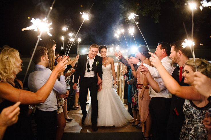 The perfect sparkler exit to a wedding