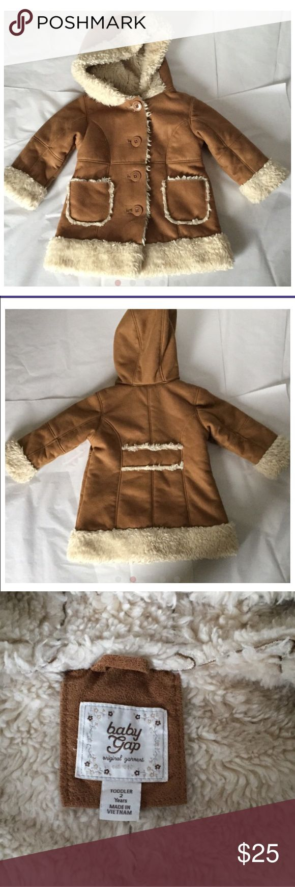 Gap Coat! Gap coat! Brown lined with faux fur! Adorable and warm! Size 2 toddler! About knee length! Gently used condition! 2 pockets in the front! GAP Jackets & Coats