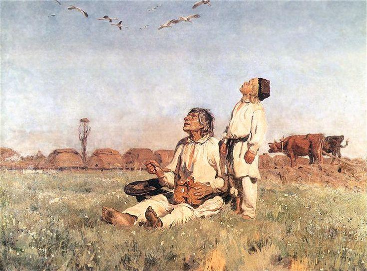 Józef Chełmoński...............Bociany  1900. Olej na płótnie. 150,7 x 198,3 cm.   Muzeum Narodowe w Warszawie.