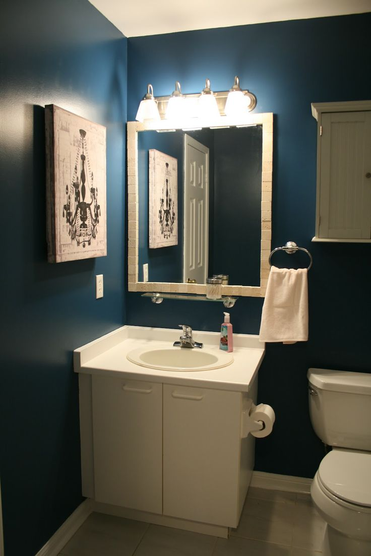 Dark blue bathroom designs - So A Dark Blue Small Bathroom Can Actually Look Good Going Dark It S Not Like I M Hosting Parties In There Who Cares If It Looks Even Smaller