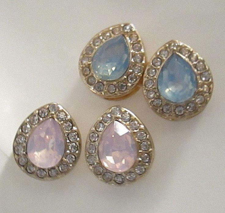 Lot of 2 Pairs Gold Tone & Crystal Rhinestone Teardrop Earrings  (NO BACKS)  #Unbranded #Stud
