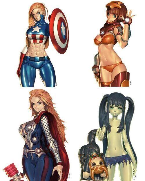Sexy Anime Alice Iron Man Thor And The Hulk