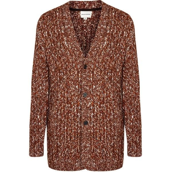 Solid Homme Brown mélange chunky-knit cardigan (2.510 RON) ❤ liked on Polyvore featuring men's fashion, men's clothing, men's sweaters, mens brown cardigan sweater, mens brown sweater, mens ribbed sweater and mens cardigan sweaters