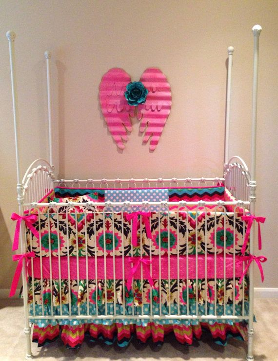 Teal And Pink Crib Bedding Beautiful Bold Colors Prints For A Rustic Hacienda Themed
