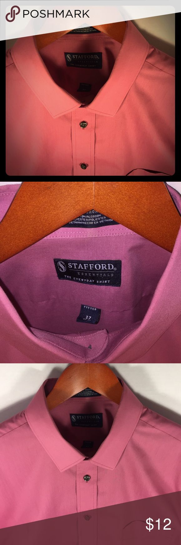 Stafford Essentials Salmon Dress Shirt Up for sale is a Stafford Essentials salmon dress shirt, neck 17, size 34-35. 60% cotton, 40% polyester. Bought new, worn only a few times. Stafford Shirts Dress Shirts