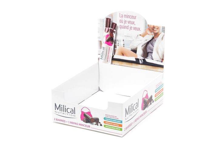 Table-top exhibitor box for the dietetics sector, made of folding cardboard.  Offset printing of 4 colors CMYK, with glossy acrylic varnish finishes.  It is delivered folded and glued with auto lock bottom system structure. The assembly time is very fast and easy.