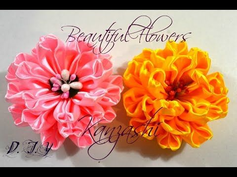 Beautiful Flowers Kanzashi/Большие цветы из ленты 5 см/Tutorial/D.I.Y - YouTube