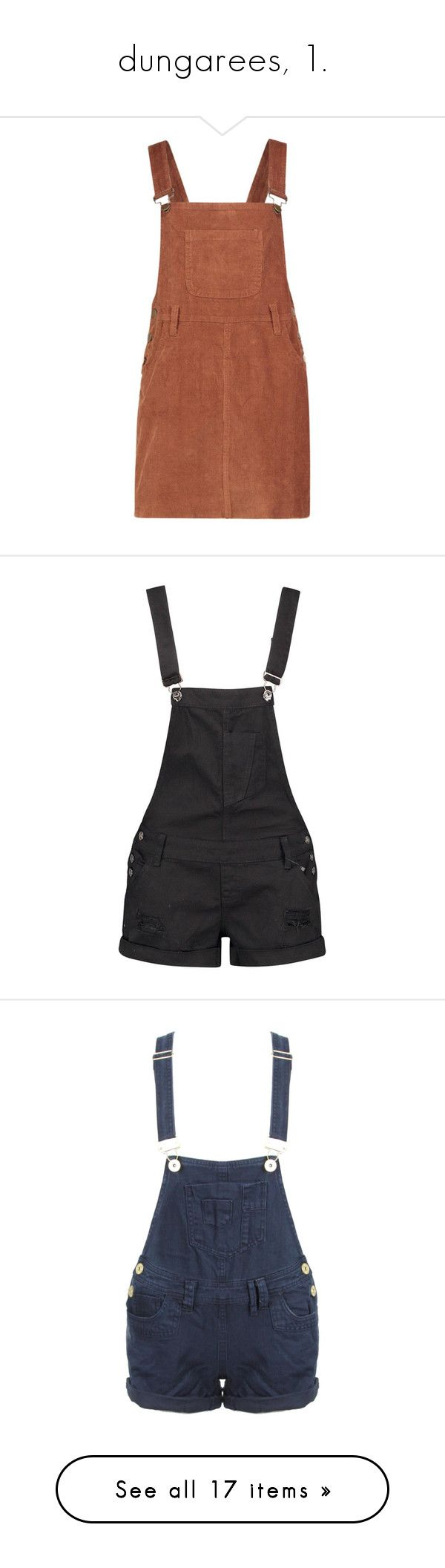 """""""dungarees, 1."""" by originalimanim ❤ liked on Polyvore featuring shorts, overalls, bottoms, dresses, tommy hilfiger, white, denim dungaree, polyester camisole, cami dress and brown cocktail dress"""