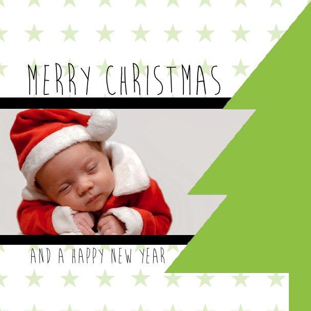 Kerstkaarten: Foto met hippe kerstboom - voorkant  zoo lief een foto van je mooiste kindje op je kerstkaartjes - www.printsy.nl