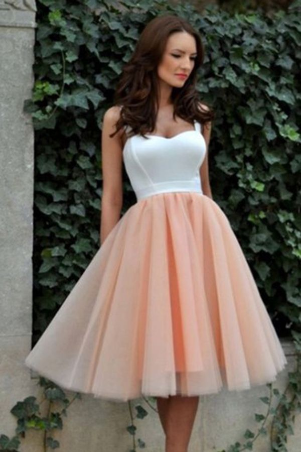 Simple Square Knee-Length Graduation Dress,A-line Tulle Blush