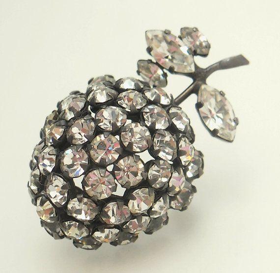 Austrian Crystal Rhinestone Apple Brooch by jujubee1 on Etsy