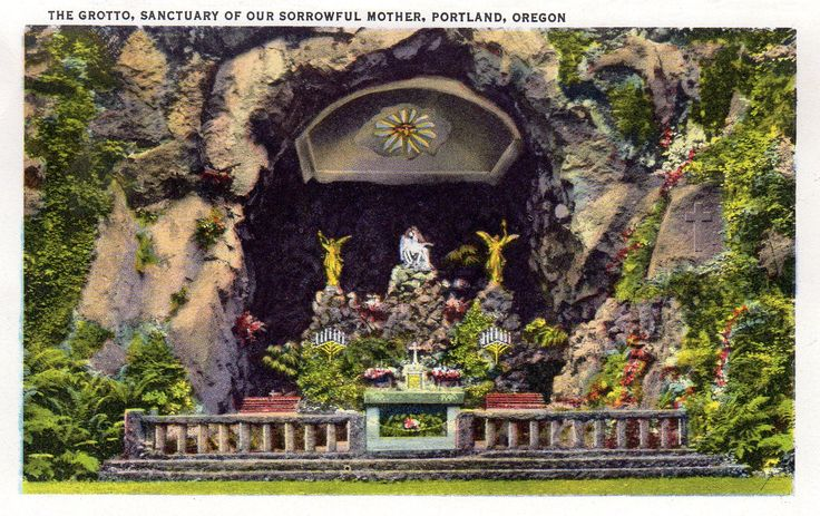 The Grotto, Sanctuary of Our Sorrowful Mother, Portland, Oregon. 1940's Portland Oregon postcard. Hagins collection.