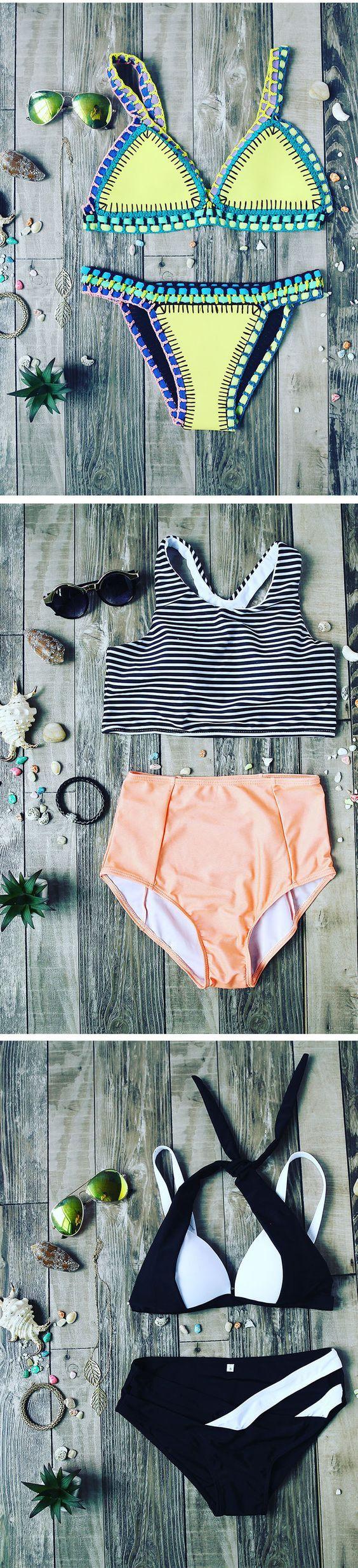 Color-block Crochet Hollow Out Bikini Set