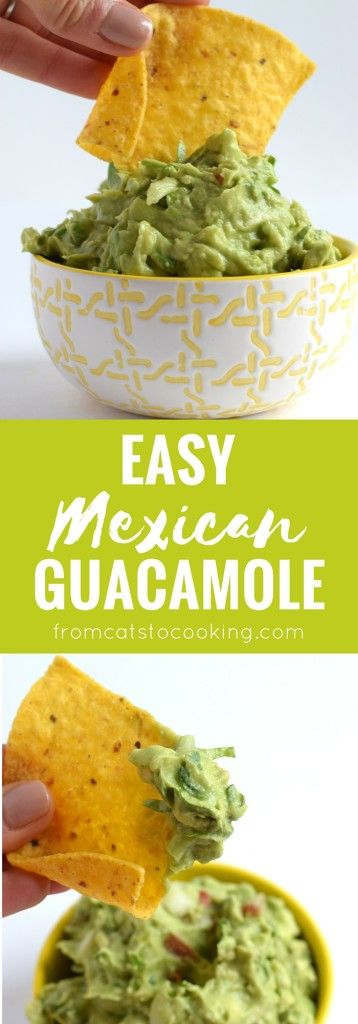This Easy Mexican Guacamole recipe only takes 5 minutes to make - no joke. Make it as a chips and dip appetizer or top it on some Mexican Lime Chicken Fajitas for a quick dinner tonight! // isabeleats.com
