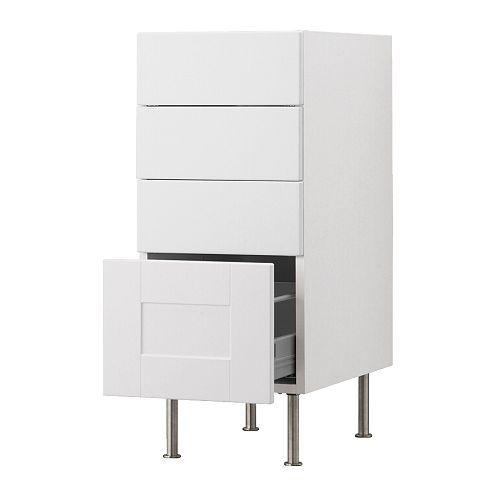 "AKURUM Base cabinet with 4 drawers - white, Ädel off-white, 15 "" - IKEA"