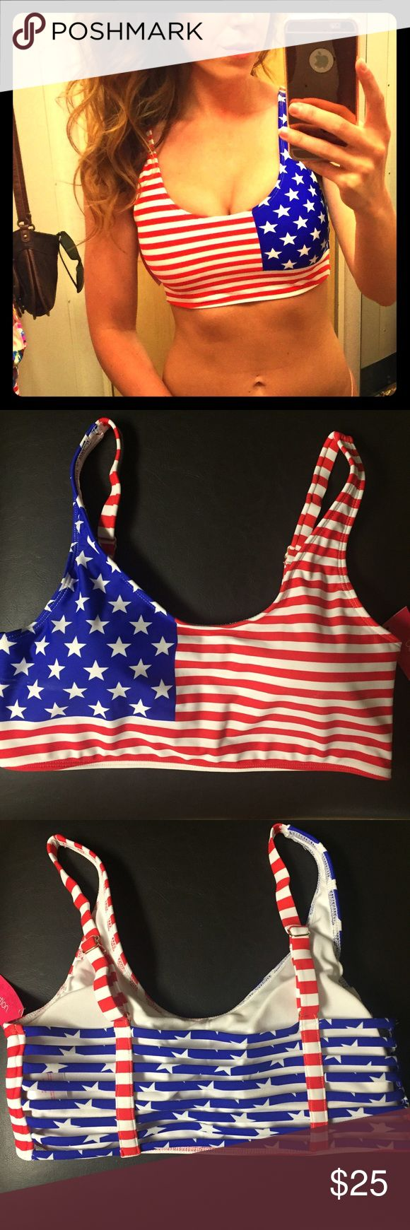 Stars and Stripes bikini top Red, white and blue top size M- cute straps on the back. NWT unable to return- perfect for a  4th of July pool party! will ship righty away❗️ Xhilaration Swim Bikinis