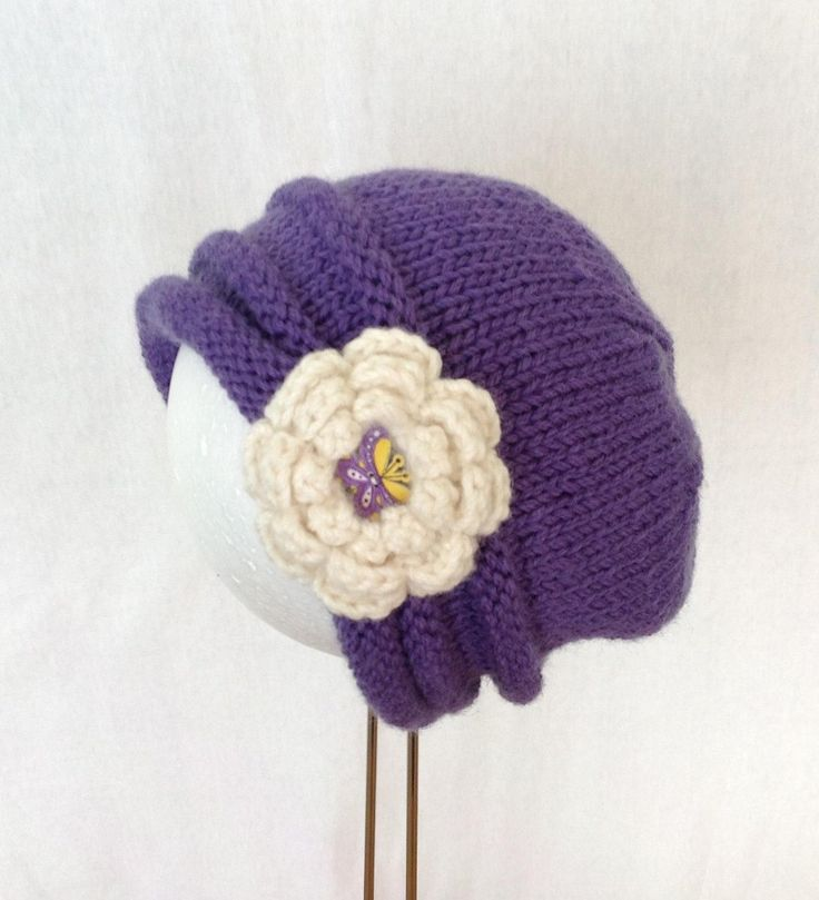 Girl's hand knitted pure wool hat/beanie blueberry in colour by shezware on Etsy