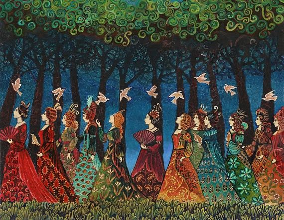 Mythological Goddess Art by Emily Balivet - Twelve Women With Birds