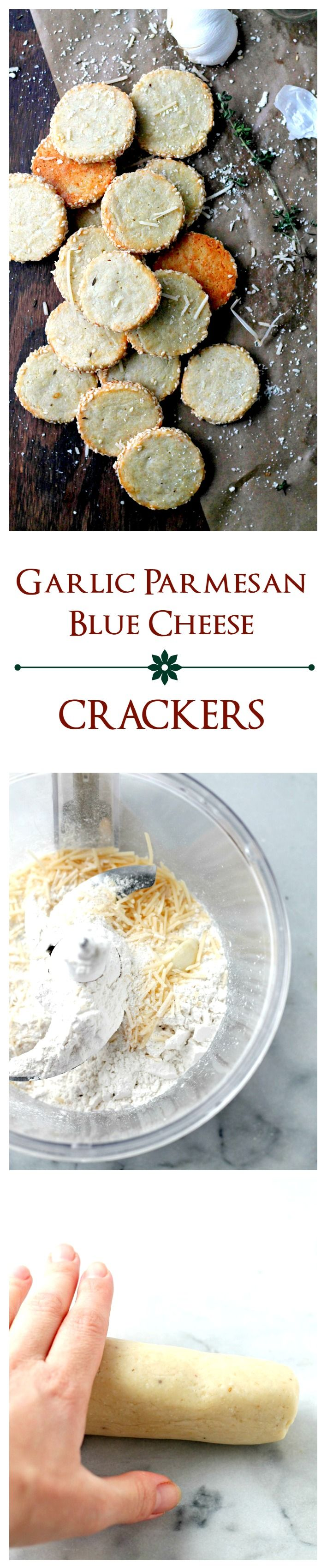 Garlic Parmesan Blue Cheese Crackers – Irresistible homemade cheese crackers rolled in crunchy sesame seeds. Perfect for HOLIDAY GIFTING!