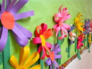 Great technique for flowers.Spring Flowers, Schools, Flower Crafts, Bulletin Boards, Paper Flowers, Classroom Ideas, Bulletinboards, Boards Ideas, Construction Paper
