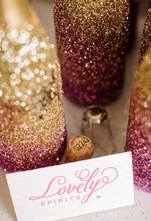 pink and champagne glitter wedding | Gallery, Pink And Gold Ombre Glitter Champagne Bottles: Valentine's ...