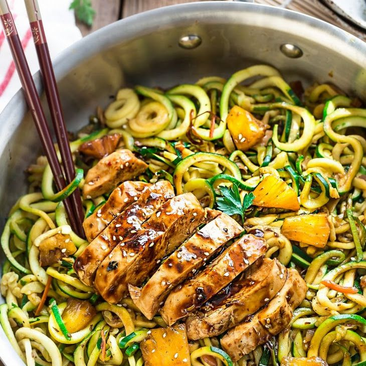 One Pot Teriyaki Chicken Zoodles Recipe Yummly Paleo Recipes Lunch Zoodle Recipes Zucchini Noodle Recipes