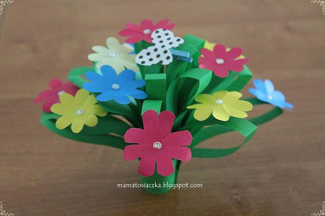 Kwiatki Na Dzien Matki Praca Plastyczna Z Kolorowego Papieru