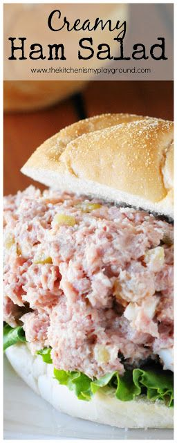 Creamy Ham Salad ~ perfect comfort food recipe for enjoying those #ham #leftovers.  #leftoverham www.thekitchenismyplayground.com