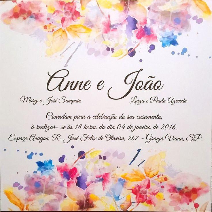 Convite Casamento estampa Aquarela | Decora | Elo7