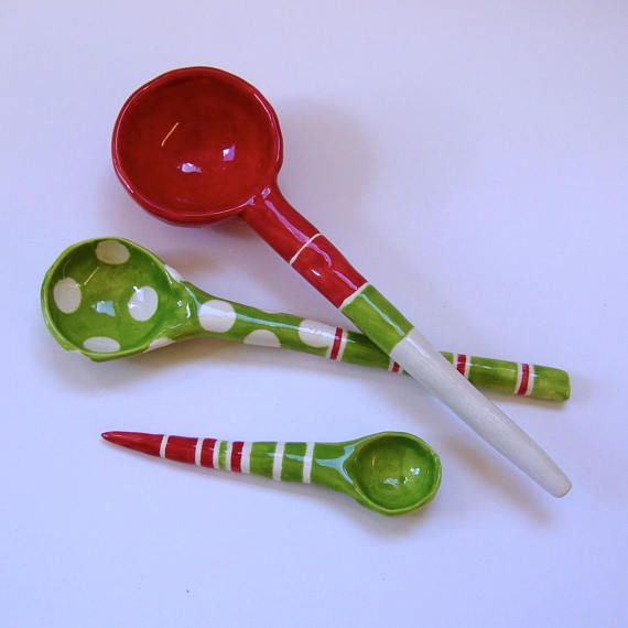 Red & Lime green  pottery Serving Spoons set of 3 stripes