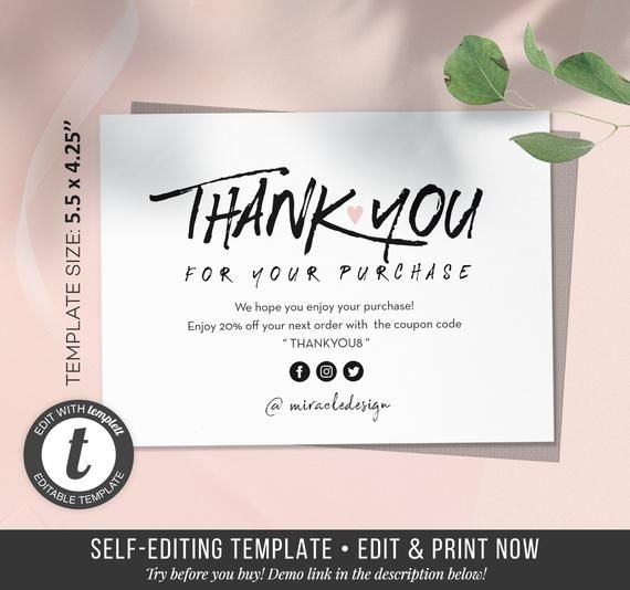 Business Thank You Card Thank You Cards Set Order Inserts Etsy Business Thank You Cards Thank You Card Template Thank You Cards