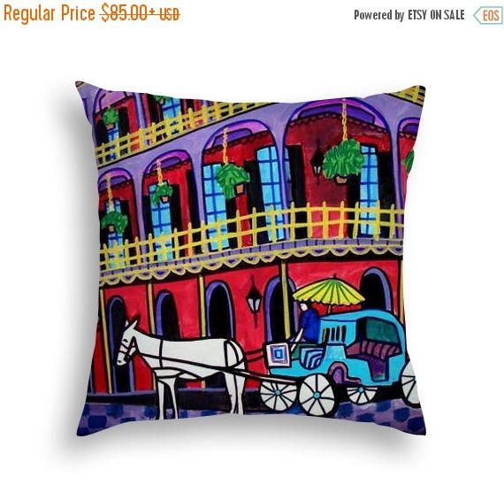 40% Off Today- New Orleans French Quarter Pillow NOLA City Skyline Folk Art throw Pillow by Heather Galler - 5 Sizes to choose from