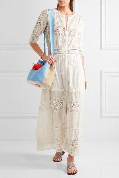 Sophie Anderson - Lilla Pompom-embellished Crocheted Shoulder Bag - Blue - one size