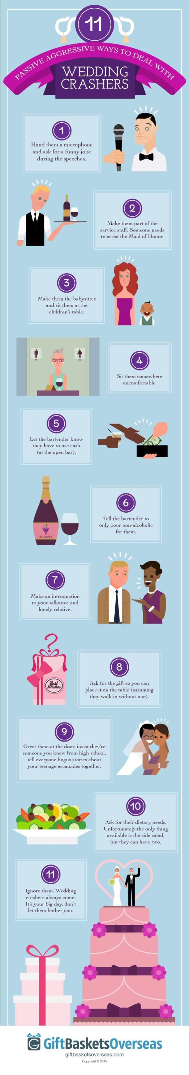 11 Pive Aggressive Ways To Deal With Wedding Crashers
