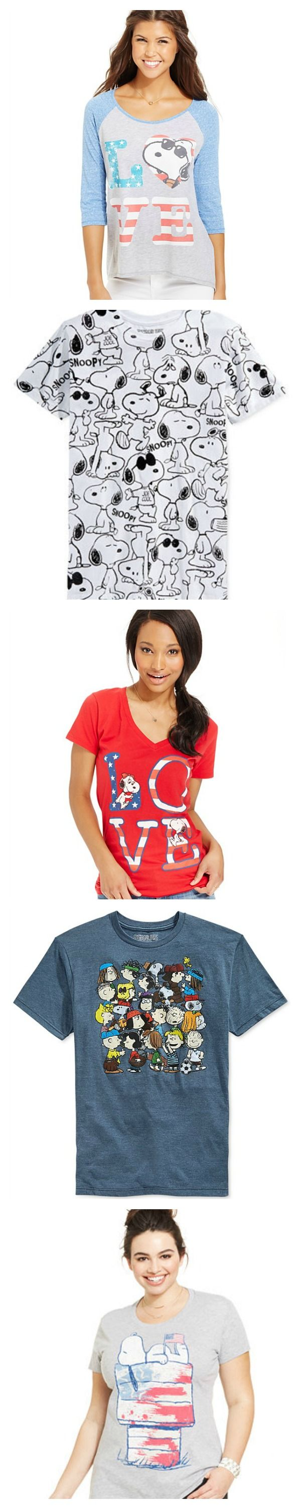 Love Snoopy? Love America? Head to Macy's to show your love of both with Peanuts t-shirts in Juniors, Mens and Kids sizes. Start shopping online at CollectPeanuts.com to help support our site.