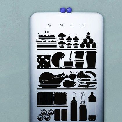 Fridge wall sticker hu2 design original pvc free biological eco friendly decals decoration vinyl vinyl wall