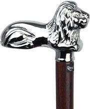 Chrome Lion Handle Walking Cane With Wenge Wood Shaft