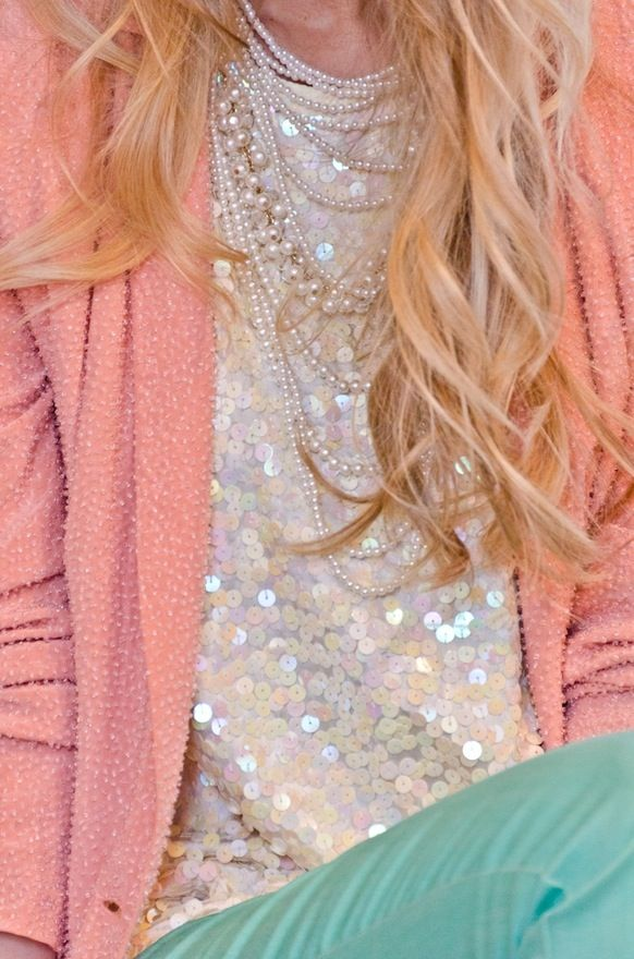 mint coral pearl sequin