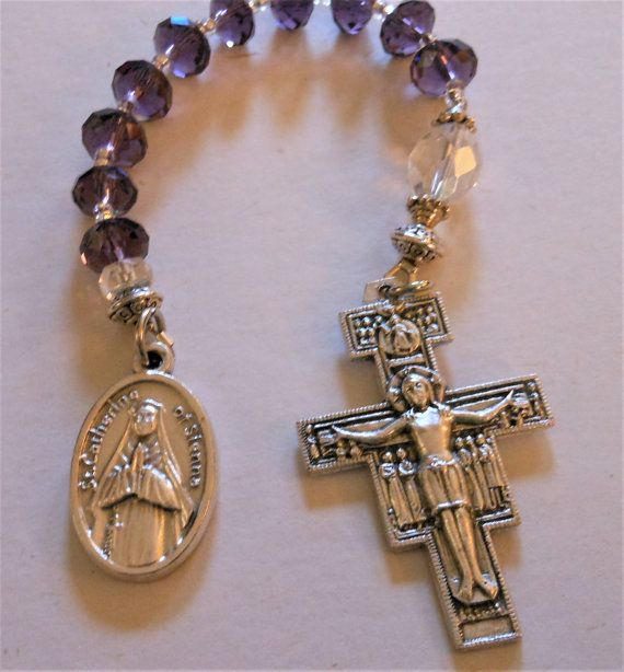 St. Catherine of Sienna One Decade Pocket Rosary by lilyofpeace