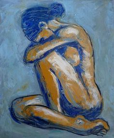 art woman back naked sitting canvas hair up - Google Search
