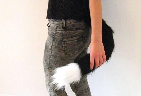 Black Cat Tail  Kitten Costume  Clip On by MadeInTheForest on Etsy