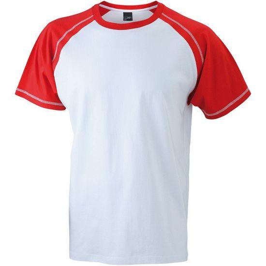 Heren t-shirts wit/rood  Heren t-shirt wit/rood. Dit witte t-shirt voor heren met rode mouwen en kraag is voorzien van zijnaden en is dubbel gestikt bij de mouwen nekband en zijnaden. Materiaal: 100 % katoen. Kwaliteit: 160 grams.  EUR 12.95  Meer informatie
