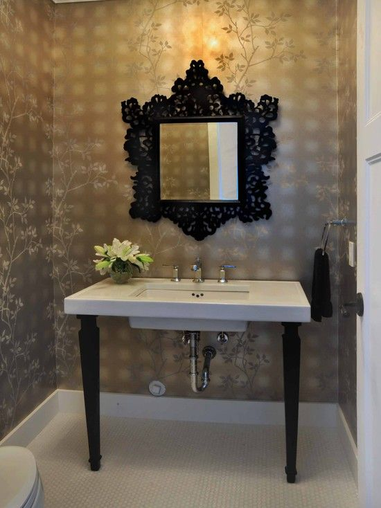 Black Accents In The Bathroom / Powder Room Design, Pictures, Remodel,  Decor And. Wallpaper ...